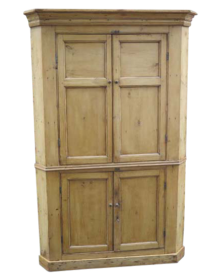 Antique English Pine Corner Cupboard. Piece separates into top and bottom  for easier delivery.Size (L x W x H): 51 x 22.5 x 78Item No: 25-0416Price:  ... - European Country Antiques